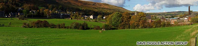 The green fields in rural Diggle where Oldham Council propose to build a 1500 pupil school, virtually doubling the village population overnight.