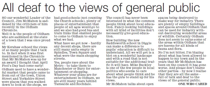 All deaf to the views of the general public - new Saddleworth School