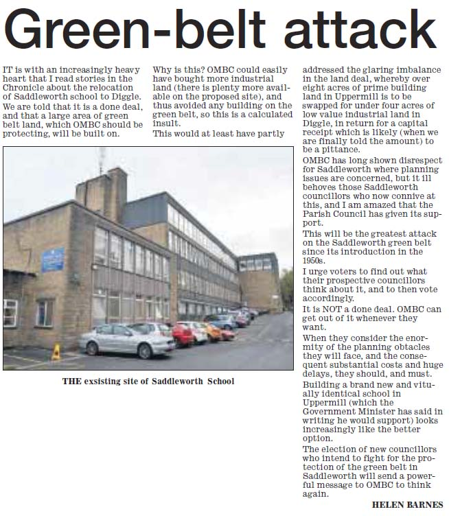 Green Belt Attack - new Saddleworth School