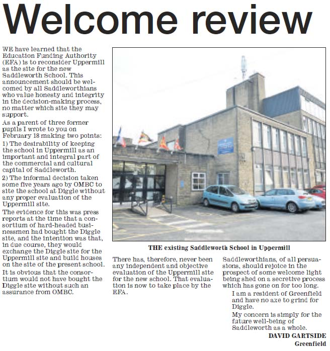 Welcome review - new Saddleworth School
