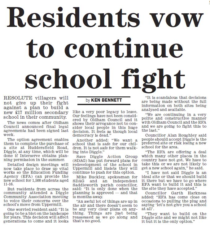 Residents vow to continue school fight - new Saddleworth School